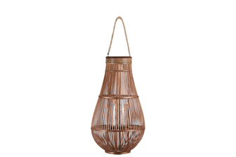 UTC16320 Bamboo Round Bellied Lantern with Wooven Banded Top, Jute Rope Removable Handle, Lattice Design Body and Glass Candle Holder XL Natural Finish Mahogany Brown