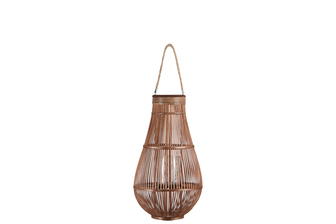 UTC16321 Bamboo Round Bellied Lantern with Wooven Banded Top, Jute Rope Removable Handle, Lattice Design Body and Glass Candle Holder LG Natural Finish Mahogany Brown