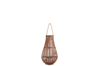 UTC16322 Bamboo Round Bellied Lantern with Wooven Banded Top, Jute Rope Removable Handle, Lattice Design Body and Glass Candle Holder MD Natural Finish Mahogany Brown