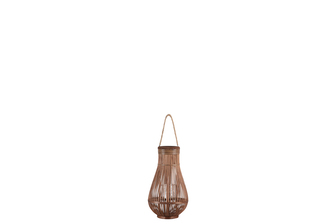 UTC16323 Bamboo Round Bellied Lantern with Wooven Banded Top, Jute Rope Removable Handle, Lattice Design Body and Glass Candle Holder SM Natural Finish Mahogany Brown