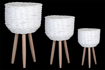 UTC16324 Wood Round Wooven Basket with Weave Design Body and 3 Legs Set of Three Painted Finish White