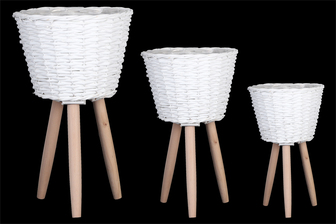 UTC16325 Wood Round Wooven Basket with Weave Design Body, Tapered Bottom and 3 Legs Set of Three Painted Finish White