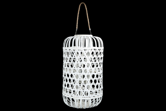 UTC16326 Wood Round Lantern with Removable Top Rope Hanger, Octagon Weave Design Body and Candle Glass Holder XXL Painted Finish White