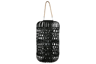 UTC16327 Wood Round Lantern with Removable Top Rope Hanger, Octagon Weave Design Body and Candle Glass Holder XXL Painted Finish Black
