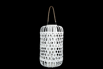 UTC16328 Wood Round Lantern with Removable Top Rope Hanger, Octagon Weave Design Body and Candle Glass Holder XL Painted Finish White