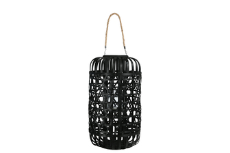 UTC16329 Wood Round Lantern with Removable Top Rope Hanger, Octagon Weave Design Body and Candle Glass Holder XL Painted Finish Black