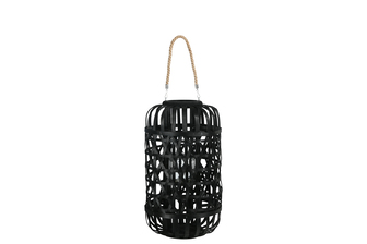 UTC16331 Wood Round Lantern with Removable Top Rope Hanger, Octagon Weave Design Body and Candle Glass Holder LG Painted Finish Black