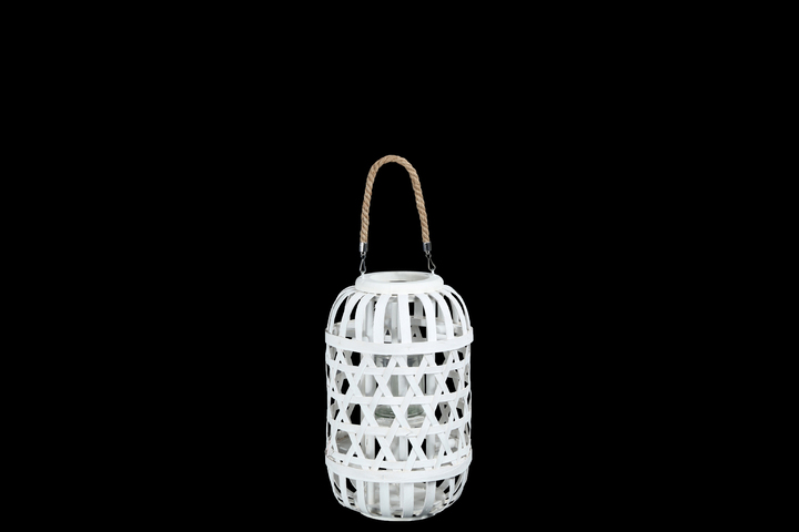 UTC16332 Wood Round Lantern with Removable Top Rope Hanger, Octagon Weave Design Body and Candle Glass Holder MD Painted Finish White