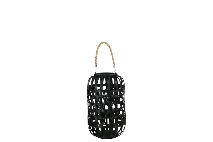 UTC16333 Wood Round Lantern with Removable Top Rope Hanger, Octagon Weave Design Body and Candle Glass Holder MD Painted Finish Black