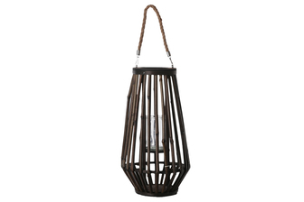 UTC16500 Bamboo Round Lantern with Top Jute Removable Rope Handle, Hurricane Glass Candle Holder and Tapered Bottom LG Varnish Finish Dark Elm