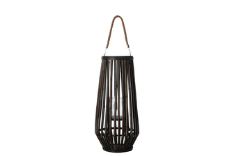 UTC16501 Bamboo Round Lantern with Top Jute Removable Rope Handle, Hurricane Glass Candle Holder and Tapered Bottom MD Varnish Finish Dark Elm