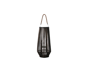 UTC16502 Bamboo Round Lantern with Top Jute Removable Rope Handle, Hurricane Glass Candle Holder and Tapered Bottom SM Varnish Finish Dark Elm
