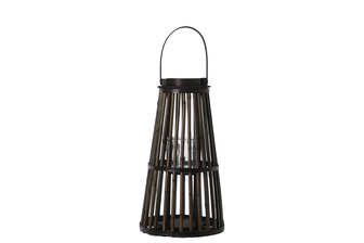 UTC16504 Bamboo Round Lantern with Top Handle, Hurricane Glass Candle Holder and Flared Bottom MD Varnish Finish Dark Elm