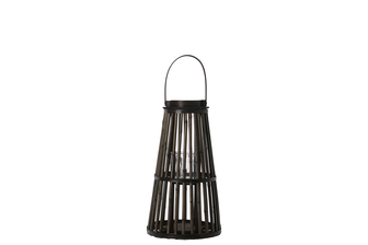 UTC16505 Bamboo Round Lantern with Top Handle, Black Rim Mouth, Hurricane Glass Candle Holder and Flared Bottom SM Varnish Finish Dark Elm