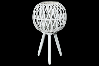 UTC16506 Bamboo Round Lantern with Top Banded Rim Mouth, Diamond Weave Pattern Design Body, Candle Glass Holder and Tripod Stand LG Painted Finish White