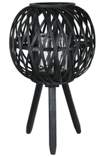 UTC16507 Bamboo Round Lantern with Top Banded Rim Mouth, Diamond Weave Pattern Design Body, Candle Glass Holder and Tripod Stand LG Painted Finish Black