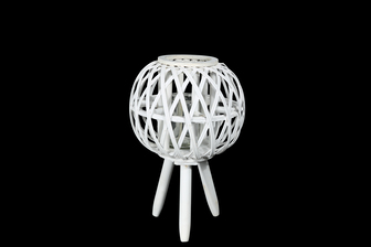 UTC16508 Bamboo Round Lantern with Top Banded Rim Mouth, Diamond Weave Pattern Design Body, Candle Glass Holder and Tripod Stand SM Painted Finish White