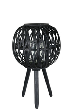 UTC16509 Bamboo Round Lantern with Top Banded Rim Mouth, Diamond Weave Pattern Design Body, Candle Glass Holder and Tripod Stand SM Painted Finish Black