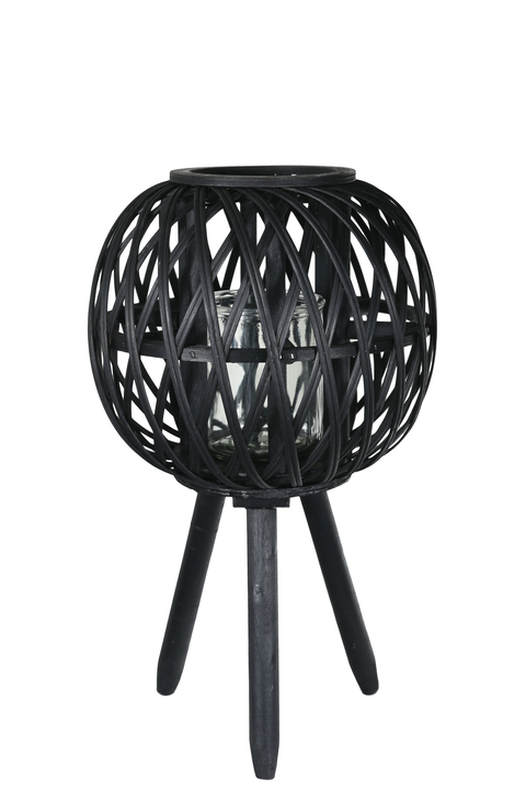 UTC16509 Bamboo Round Lantern with Diamond Lattice Pattern Design Body, Candle Glass Holder and Tripod Stand SM Painted Finish Black