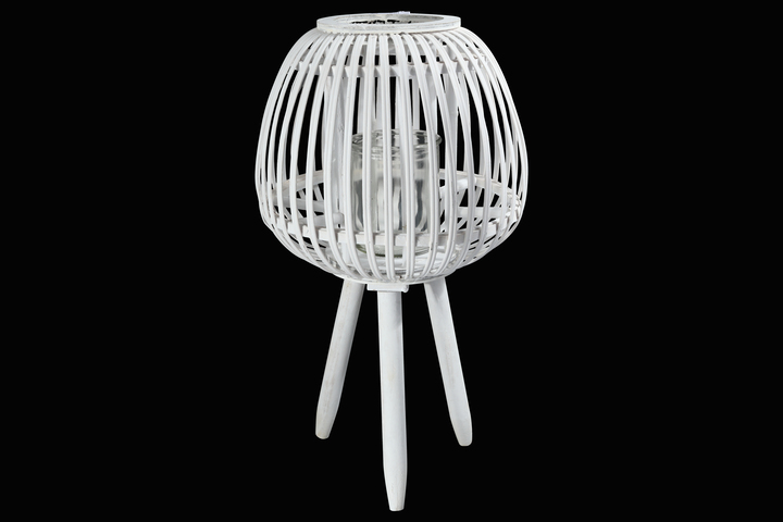 UTC16510 Bamboo Round Lantern with Top Banded Rim Mouth, Vertical Lattice Pattern Design Body, Candle Glass Holder and Tripod Stand LG Painted Finish White