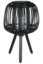 UTC16511 Bamboo Round Lantern with Top Banded Rim Mouth, Vertical Lattice Pattern Design Body, Candle Glass Holder and Tripod Stand LG Painted Finish Black