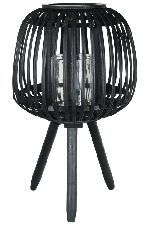 UTC16511 Bamboo Round Lantern with Vertical Lattice Pattern Design Body, Candle Glass Holder and Tripod Stand LG Painted Finish Black