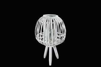 UTC16512 Bamboo Round Lantern with Vertical Lattice Pattern Design Body, Candle Glass Holder and Tripod Stand SM Painted Finish White