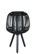 UTC16513 Bamboo Round Lantern with Top Banded Rim Mouth, Vertical Lattice Pattern Design Body, Candle Glass Holder and Tripod Stand SM Painted Finish Black