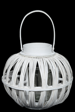 UTC16514 Wood Round Bellied Lantern with Top Handle and Candle Glass Holder LG Painted Finish White