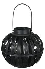 UTC16515 Wood Round Bellied Lantern with Top Handle and Candle Glass Holder LG Painted Finish Black