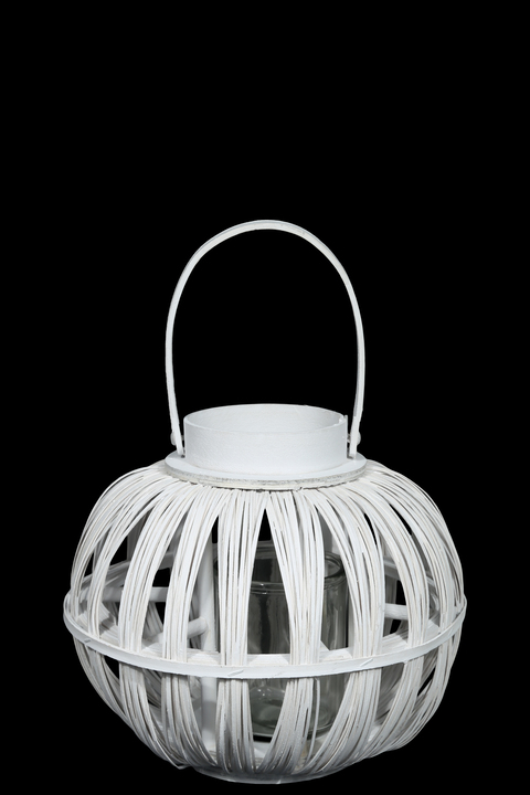 UTC16516 Wood Round Bellied Lantern with Top Handle and Candle Glass Holder SM Painted Finish White