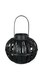 UTC16517 Wood Round Bellied Lantern with Top Handle and Candle Glass Holder SM Painted Finish Black