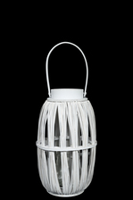 UTC16518 Wood Round Lantern with Top Handle and Candle Glass Holder SM Painted Finish White