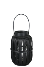 UTC16519 Wood Round Lantern with Top Handle and Candle Glass Holder SM Painted Finish Black