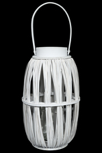 UTC16520 Wood Round Lantern with Top Handle and Candle Glass Holder LG Painted Finish White
