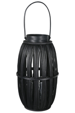 UTC16521 Wood Round Lantern with Top Handle and Candle Glass Holder LG Painted Finish Black