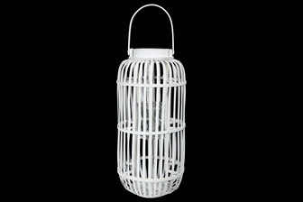 UTC16522 Wood Tall Round Lantern with Top Handle Lattice Design Body, Candle Glass Holder and Tapered Bottom LG Painted Finish White