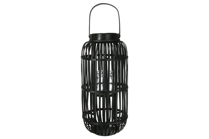 UTC16523 Wood Tall Round Lantern with Top Handle Lattice Design Body, Candle Glass Holder and Tapered Bottom LG Painted Finish Black