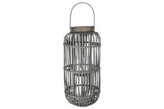 UTC16524 Wood Tall Round Lantern with Top Handle Lattice Design Body, Candle Glass Holder and Tapered Bottom LG Weathered Finish Gray