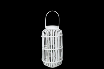 UTC16525 Wood Tall Round Lantern with Top Handle Lattice Design Body, Candle Glass Holder and Tapered Bottom MD Painted Finish White