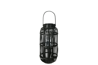 UTC16526 Wood Tall Round Lantern with Top Handle Lattice Design Body, Candle Glass Holder and Tapered Bottom MD Painted Finish Black
