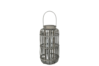 UTC16527 Wood Tall Round Lantern with Top Handle Lattice Design Body, Candle Glass Holder and Tapered Bottom MD Weathered Finish Gray