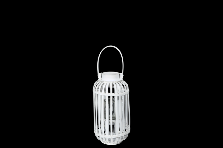 UTC16528 Wood Tall Round Lantern with Top Handle Lattice Design Body, Candle Glass Holder and Tapered Bottom SM Painted Finish White