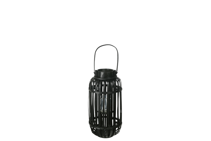 UTC16529 Wood Tall Round Lantern with Top Handle Lattice Design Body, Candle Glass Holder and Tapered Bottom SM Painted Finish Black