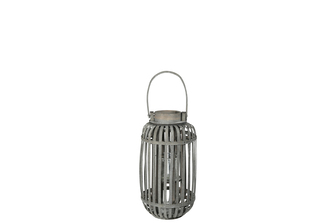UTC16530 Wood Tall Round Lantern with Top Handle Lattice Design Body, Candle Glass Holder and Tapered Bottom SM Washed Finish Gray