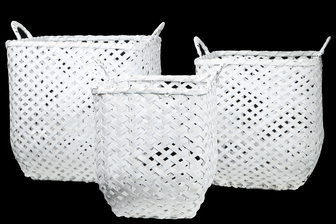 UTC16531 Wood Square Basket with Side Handles and Criss Cross Weave Design Body on Metal Frame Set of Three Painted Finish White