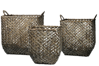 UTC16532 Wood Square Basket with Side Handles and Criss Cross Weave Design Body Set of Three Painted Finish Gray
