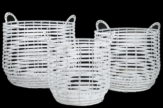 UTC16533 Wood Round Basket with Side Handles and Spiral Pattern Design Body on Metal Frame Set of Three Painted Finish White