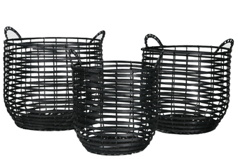 UTC16534 Wood Round Basket with Side Handles and Spiral Pattern Design Body Set of Three Painted Finish Black