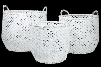 UTC16535 Wood Round Basket with Side Handles and Criss Cross Weave Design Body on Metal Frame Set of Three Painted Finish White
